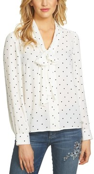 CeCe Women's Polka Dot Tie Neck Blouse