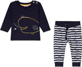Absorba Navy Fish Print T-Shirt and Stripe Fish Leggings Set