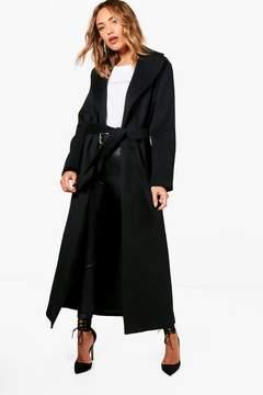 boohoo Lucy Belted Maxi Wool Look Coat