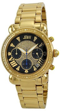 JBW Victory Black Pave Dial Chronograph Diamond Ladies Watch