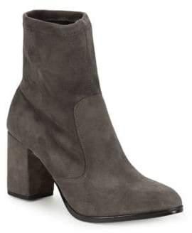 Saks Fifth Avenue Lady Suede Block Heel Booties