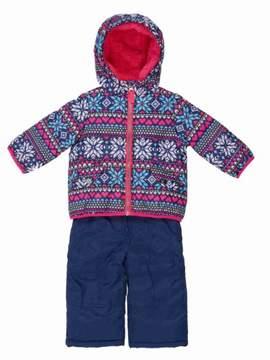 Carter's Infant Girls Blue Snow Bibs & Winter Coat Set Nordic Print Snowsuit 12m