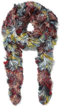 Missoni Fringed Metallic Knitted Scarf - Purple
