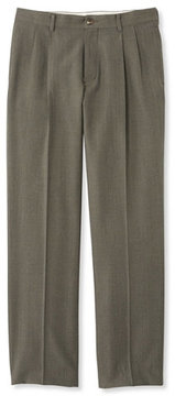 L.L. Bean Washable Year-Round Wool Pants, Classic Fit Pleated Front Herringbone
