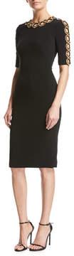 Jenny Packham Half-Sleeve Beaded Cutout Dress
