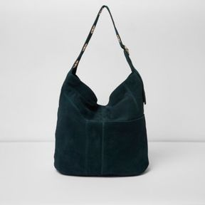 River Island Womens Dark green suede eyelet underarm slouch bag