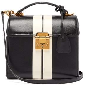Mark Cross Sara Striped Caviar Leather Bag - Womens - Black White