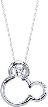 Disney Sterling Silver Mickey Mouse Pendant with Lab-Created White Sapphire