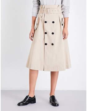 Claudie Pierlot A-line cotton-twill skirt