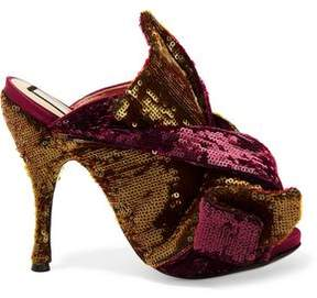 N°21 N° 21 Knotted Sequined Satin Mules