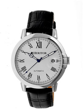Heritor Automatic Laudrup Mens Leather Magnified Date-Silver Watches