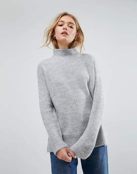 Asos Chunky Sweater With Turtleneck In Fluffy Yarn