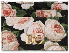 Dolce & Gabbana Leather Floral Print Credit Card Holder