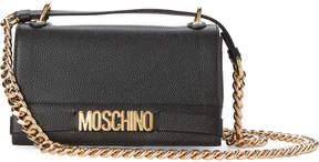Moschino Black Logo Leather Shoulder Bag