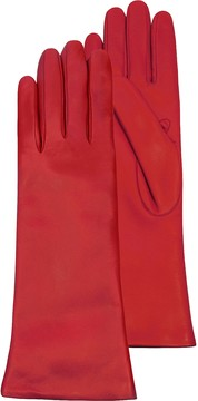 Forzieri Red Leather Women's Long Gloves w/Cashmere Lining