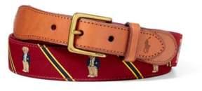 Polo Ralph Lauren Bear-Overlay Webbed Belt Burgundy/Yellow 34
