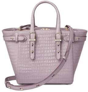 Aspinal of London Mini Marylebone Tote In Deep Shine Lilac Small Croc