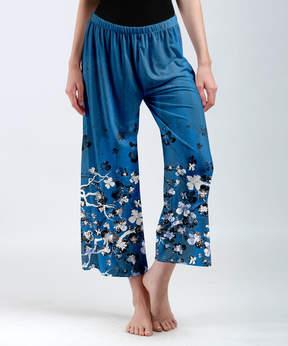 Lily Blue & White Crop Palazzo Pants - Women & Plus