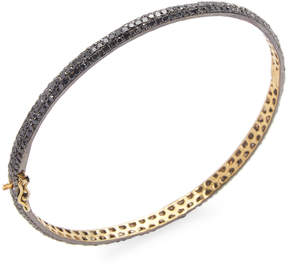 Artisan Women's Oval shape Black Diamond Openable Bangle