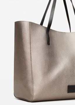 MANGO Pebbled shopper bag