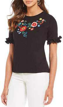Chelsea & Theodore Floral Embroidered Tiered Ruffle Sleeve Top