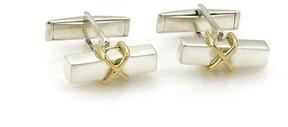 Tiffany & Co. 925 Sterling Silver 18K Yellow Gold Post X Design Cufflinks
