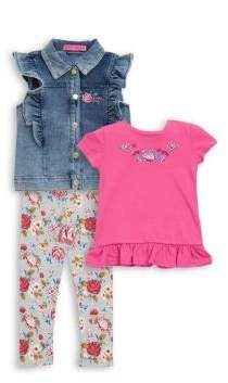 Betsey Johnson Little Girl's Three-Piece Ruffle Top, Vest and Floral Pants Set