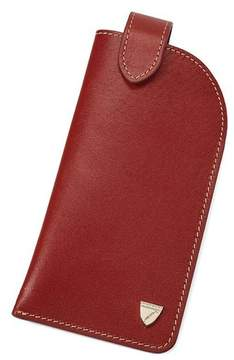 Aspinal of London Slimline Glasses Case In Smooth Cognac Espresso Suede