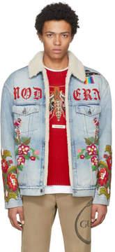 Gucci Blue Denim Shearling Embroidered Modern Future Jacket