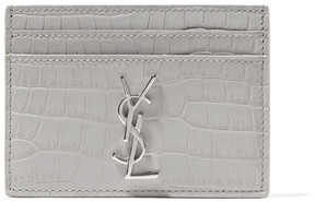 Saint Laurent Croc-effect Leather Cardholder - Gray - GRAY - STYLE