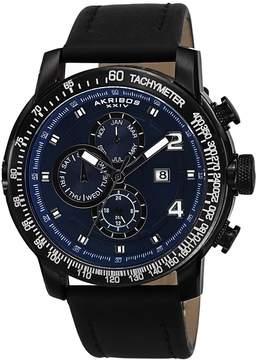 Akribos XXIV Blue Dial Black IP Stainless Steel Men's Watch AK743BU