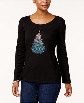 Karen Scott Cotton Studded Tree T-Shirt, Created for Macy's