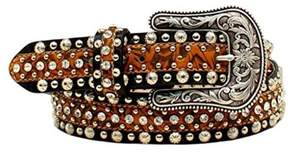 Ariat A1521467-S 1.5 in. Womens Circle Concho & Rhinestone Belt, Tan & Black - Small