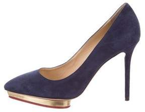 Charlotte Olympia Suede Pointed-Toe Pumps
