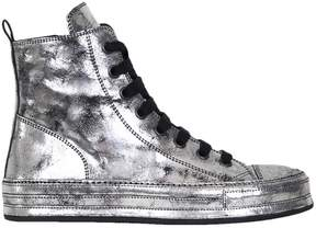 Ann Demeulemeester Silver Leather Sneakers