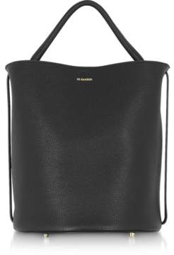 Jil Sander Black Large Knitted Leather Basket Bag
