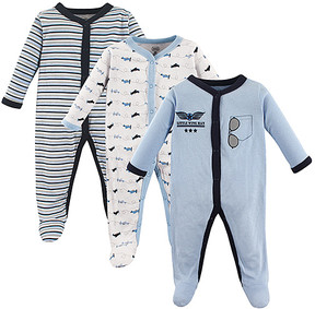 Luvable Friends Blue Airplane Snap-Front Playsuit Set - Newborn & Infant