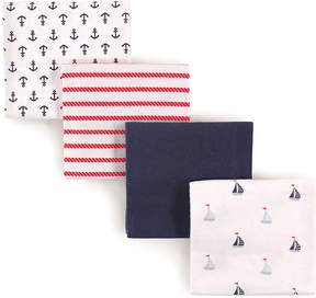 Luvable Friends Sailboats Flannel Receiving Blanket - Set of Four