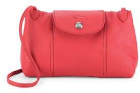 Longchamp Le Pliage Cuir Leather Crossbody Bag - RED - STYLE