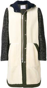 Sacai Herringbone contrast sleeve coat