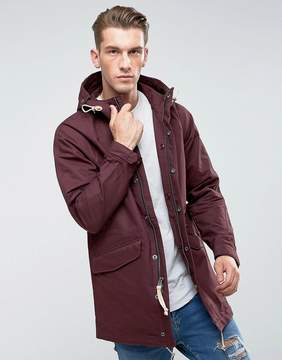 Abercrombie & Fitch Hooded Parka Cotton/Nylon in Burgundy