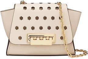 Zac Posen Eartha Floral-Perforated Chain Strap Leather Crossbody Bag, Ivory
