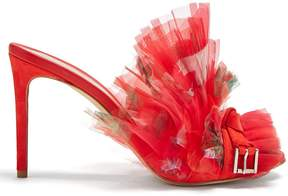 Alexander McQueen Floral-print pleated organza mules