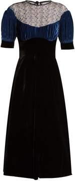 Emilia Wickstead Kirsten embroidered-lace velvet dress