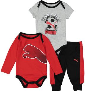 Puma Red & Light Gray 'Born 2 Play' Bodysuit Set - Infant