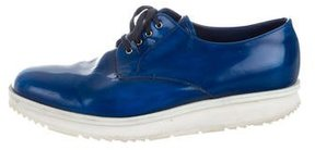 Prada Leather Round-Toe Derby Shoes