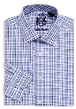 English Laundry Plaid-Print Cotton Dress Shirt
