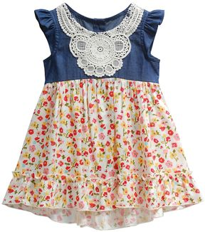 Youngland Baby Girl Floral & Crochet Dress