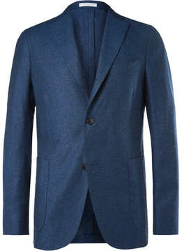 Boglioli Navy Silk And Linen-Blend Blazer