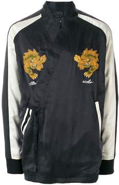 MHI embroidered wrap tied jacket